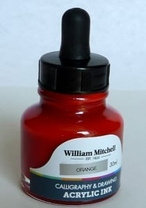 William Mitchell Orange Acrylic Calligraphy Ink 30ml 1