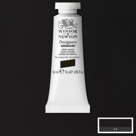 Winsor Newton Gouache Ivory Black 14ml