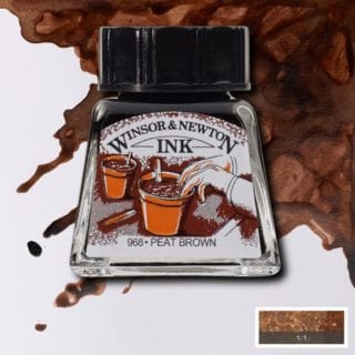winsor and newton drawing ink peat brown