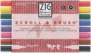 zig scroll brush calligraphy marker set of 8