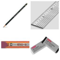 Pencils, Erasers, Craft Knives, Rulers, Bottles