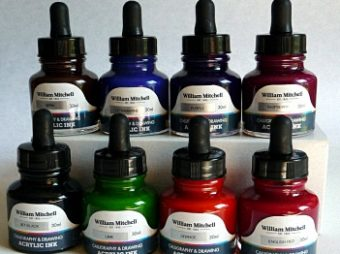 William Mitchell Acrylic Calligraphy Ink Set of 8 2